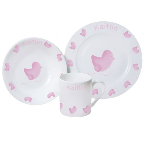 Personalised Pink Chick Breakfast Set
